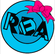 REA logo with a pink bow.