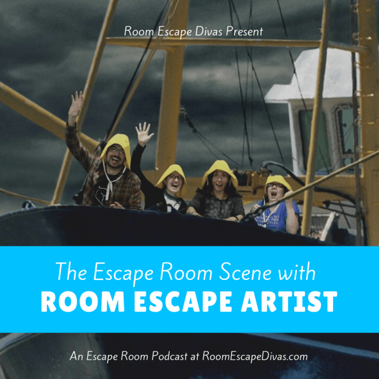 "Room Escape Divas Present ""The Escape Romm Scene with Room Escape Artist."" Image features us with Manda wearing yellow raincoats on a fishing boat."