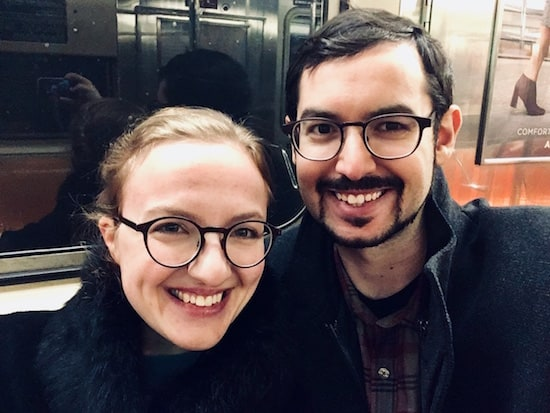 Lisa and David selfie on the 6 train.