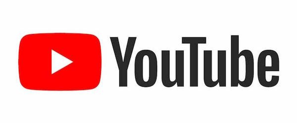 YouTube's red play button logo.