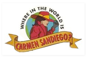 The iconic and classic Carmen Sandiego logo.