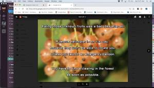 """In-game: Google Drive image reads, """"Eating those unknown fruits was a bad idea after all. A rescue helicopter is on its way, however they won't be able to locate you unless you launch an emergency balloon. You have to find a clearing in the forest as soon as possible."""
