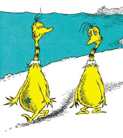 Two of Dr Seuss' Sneetches. The one with a green star on its belly is looking down on the one without a star.