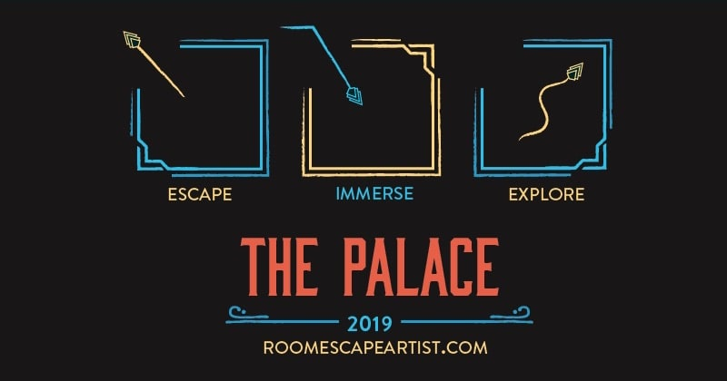 Escape Immerse Explore Palace logo, uses art deco design elements.