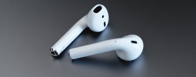 Closeup of Apple Airpods.
