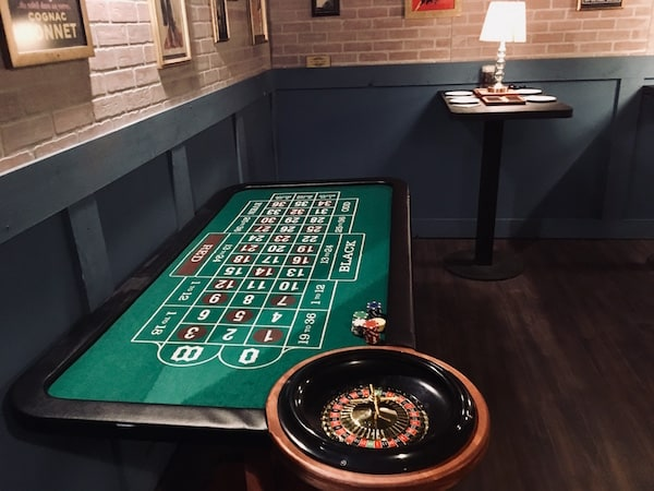 In-game: A roulette table.