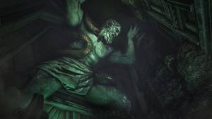 In-game: A gigantic statue of Atlas wrapped in a snake holding up the ceiling of a cave.