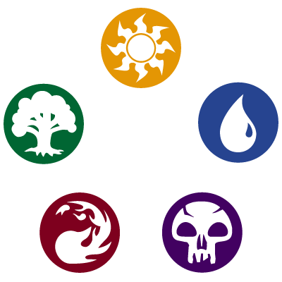 Magic the Gathering color symbols. A white sun, a blue water drop, a green tree, a red fire, and a black skull.