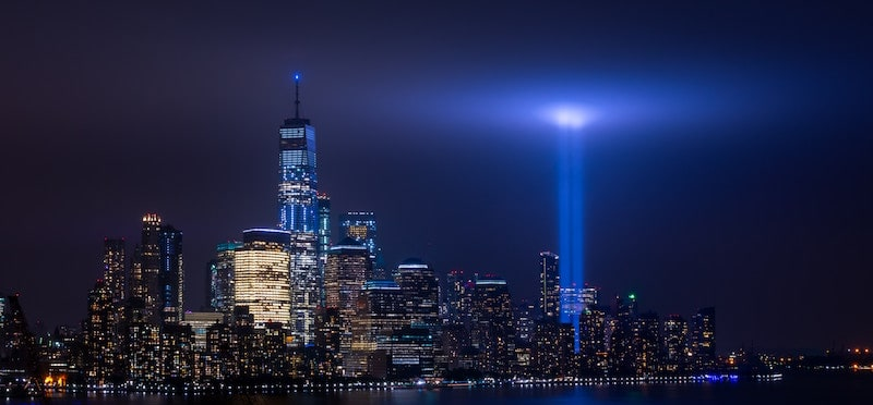"World Trade Center ""Tribute in Light"" twin towers of light glowing bright in the sky."