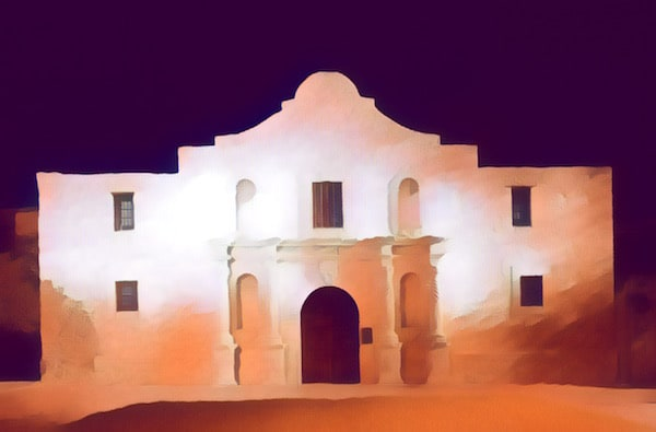 Stylized image of The Alamo at night.