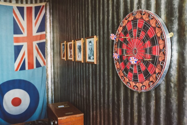 In-game: a dartboard in a pilot's bar.