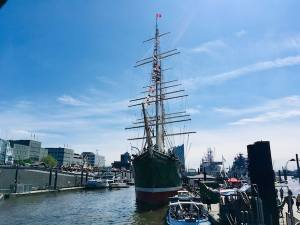 The front of the docked tall ship, the RICK RICKMERS.