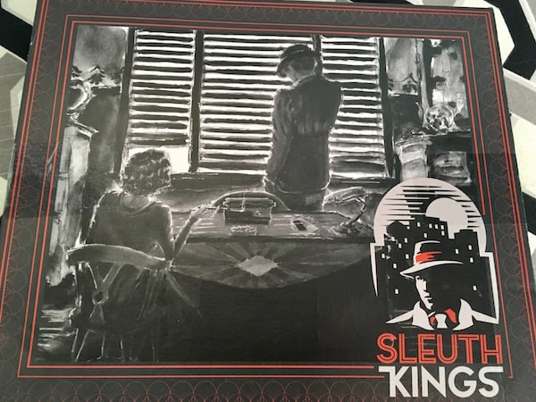 The illustrated game box, a charcoal image of a woman in a detective's office.
