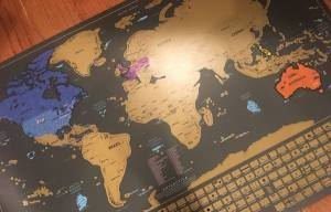 Out partially scratched off world map.