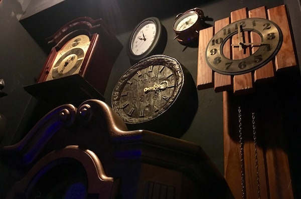 In-game: A wall of clocks.