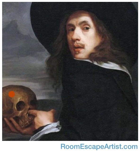 Painting of a man looking over his shoulder and sticking his finger in the nose of a skull with a red do not touch sticker on its side.