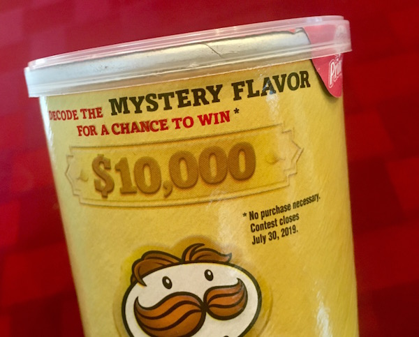 The top of the Mystery Flavor Pringles tube. The $10,000 prize is highlighted.