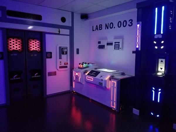 In-game: A futuristic lab.