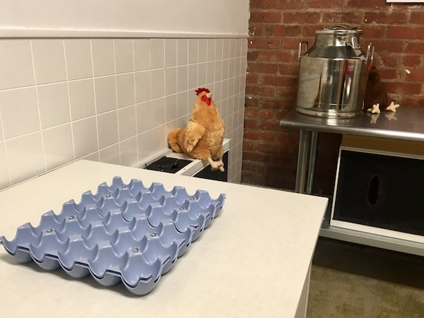 In-game: An empty egg carton and a checken in a kitchen.