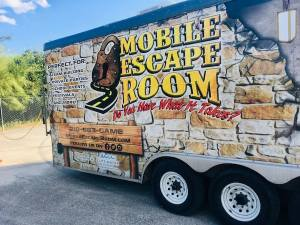 The exterior of Mobile Escape Room's trailer.