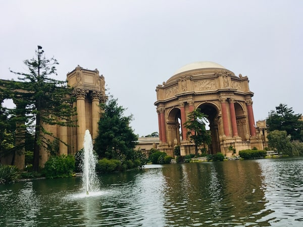 Exterior of the gorgeous Palace of Fine Arts.