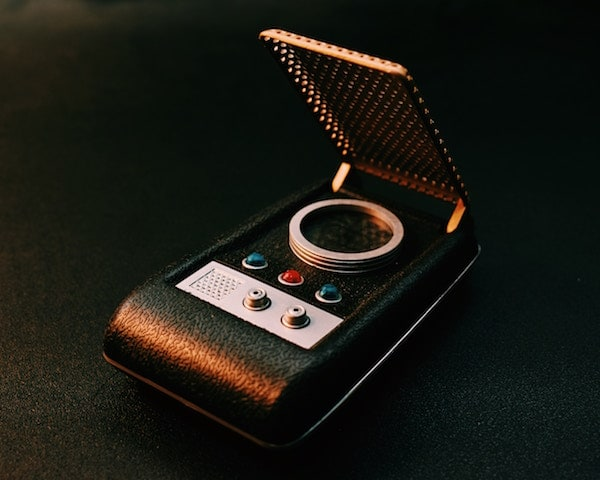 A closeup of a Star Trek Communicator.