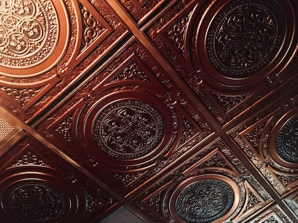 In-game: ornate copper ceiling.