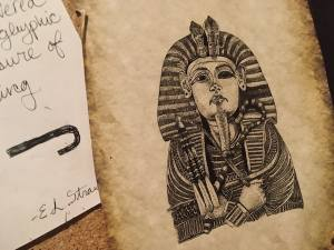 In-game: A sketch of a sarcophagus.