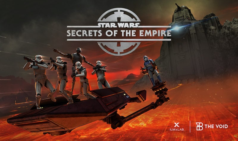 The cover art for Star Wars Secrets of the Empire. A team of stormtroopers on a skiff above a molten planet.