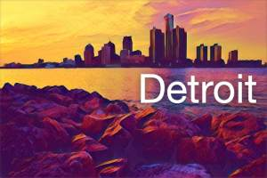 Stylized image of the Detroit skyline.