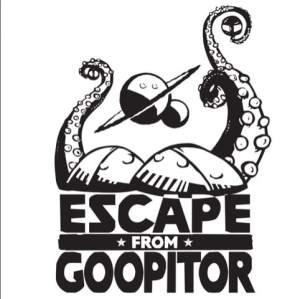 Escape From Goopitor logo has planets and tenticles.
