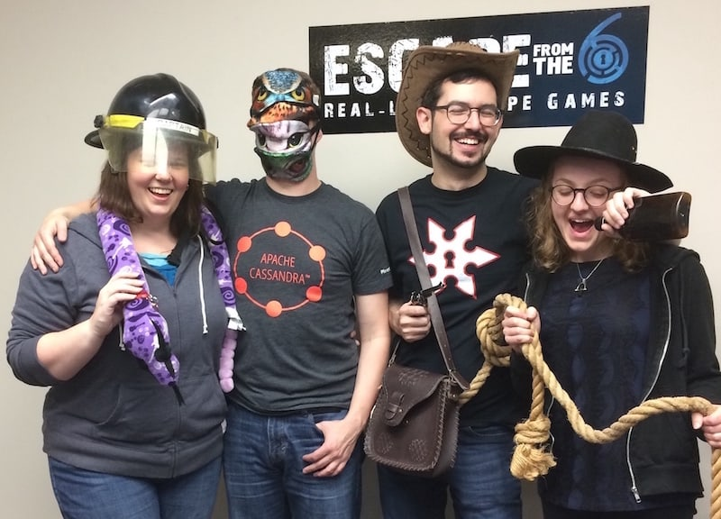 Amanda, Drew, David, & Lisa post-game at Escape From the 6. Each is wearing costumes and props from their games.