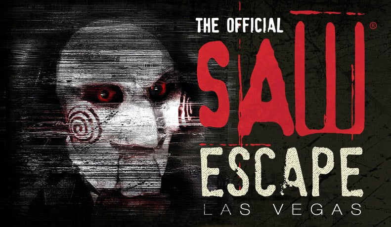 The Official SAW Escape Las Vegas logo depicting Jigsaw.