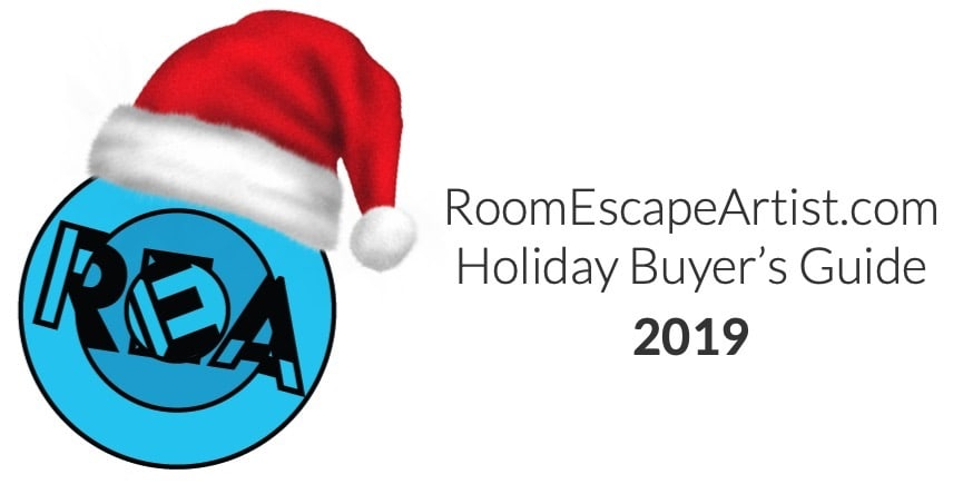 Room Escape Artist Holiday Buyer's Guide 2019 masthead, features the REA logo with a Santa hat.