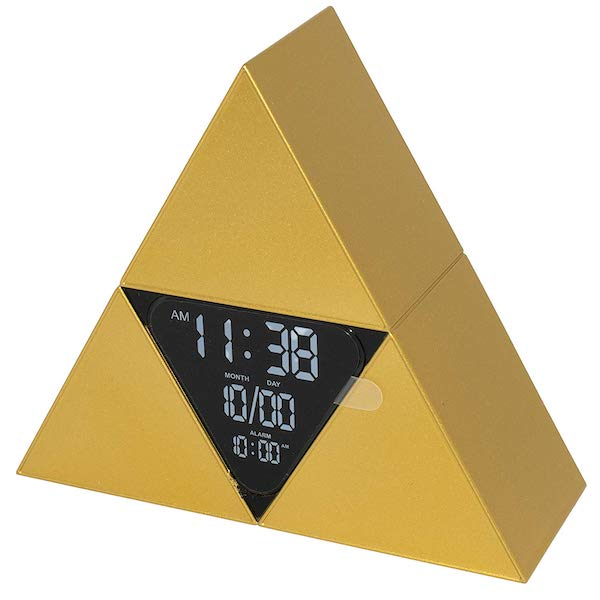 A golden triangle assembled from 4 smaller triangers. The centerpiece has an alarm display.