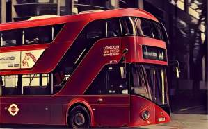 Stylized image of a double decker bus in London.