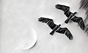 Black & white stylized image of two large birds flying overhead.