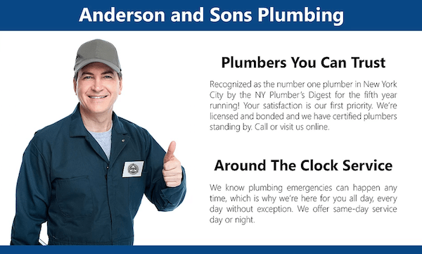 A mailer for Anderson and Sons Plumbing, with additional marketing text and a man in a jumpsuit giving a thumbs-up.