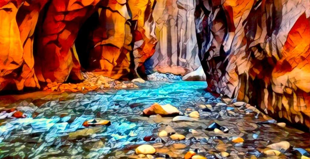 Stylized image of a stream running through a canyon.