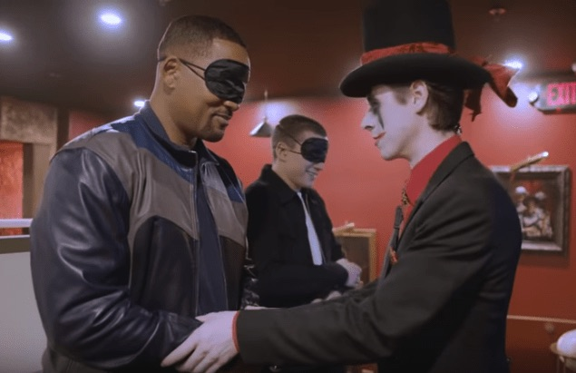 Will Smith & Tom Holland blindfolded by an in-character gamemaster.