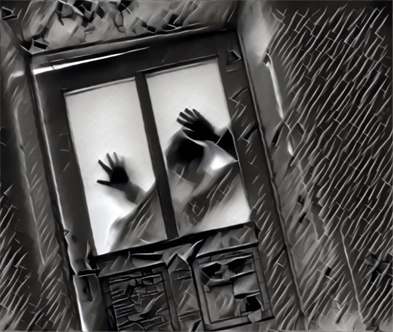 Creepy image of a person fearfully clutching the window of a door.