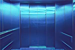 Stylized image of the interior of a steel elevator with closed doors.