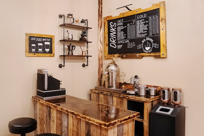 In-game: a beautiful hipster coffee bar with all of the correct signage and equipment.