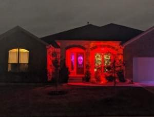 Sarah's house exterior, decorated for Halloween.