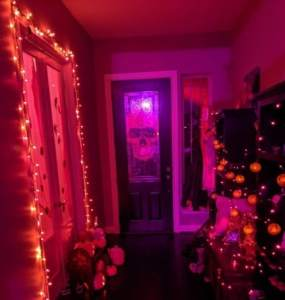 A hallway decorated for Halloween.
