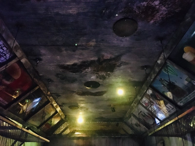 In-game: The ceiling of an old, worn subway car.