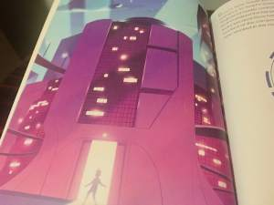 Art of a person entering a large, futuristic, building.