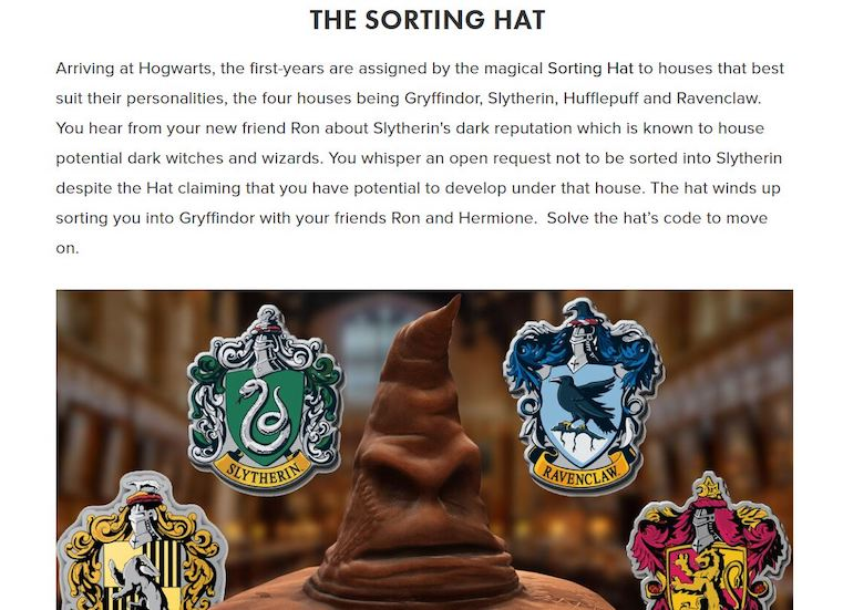 In-game: Image of the sorting hat and the Hogwarts houses.