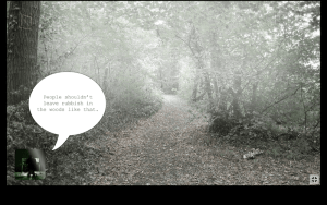 """A view of the woods with garbage laying on the trail, a text bubble reads, """"People shouldn't leave rubbish in the woods like that."""""""