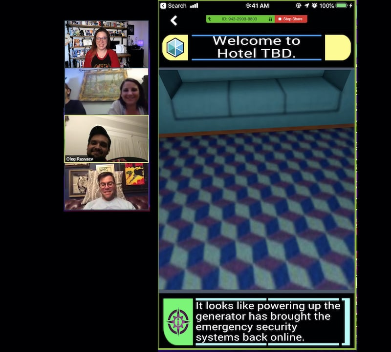 4 players looking at the welcome screen fot he TBD Hotel.